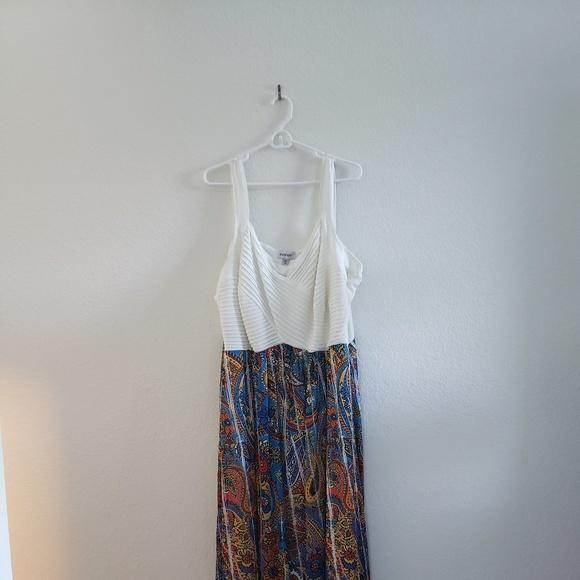 Avenue Dresses | Whitemulti Colored Maxi Dress Plus Size | Poshmark